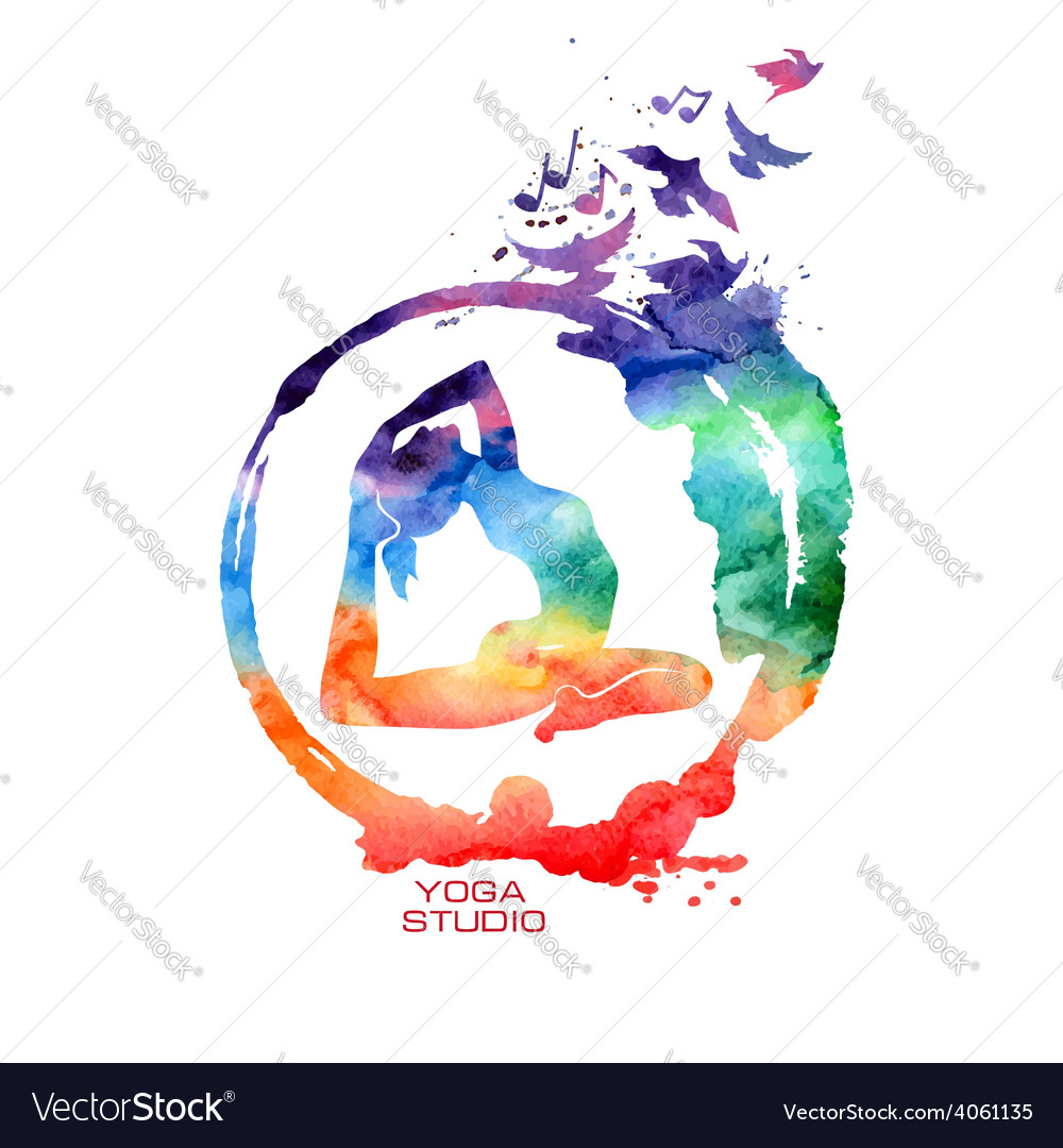 Watercolor yoga pose label vector   Price: 1 Credit (USD $1)