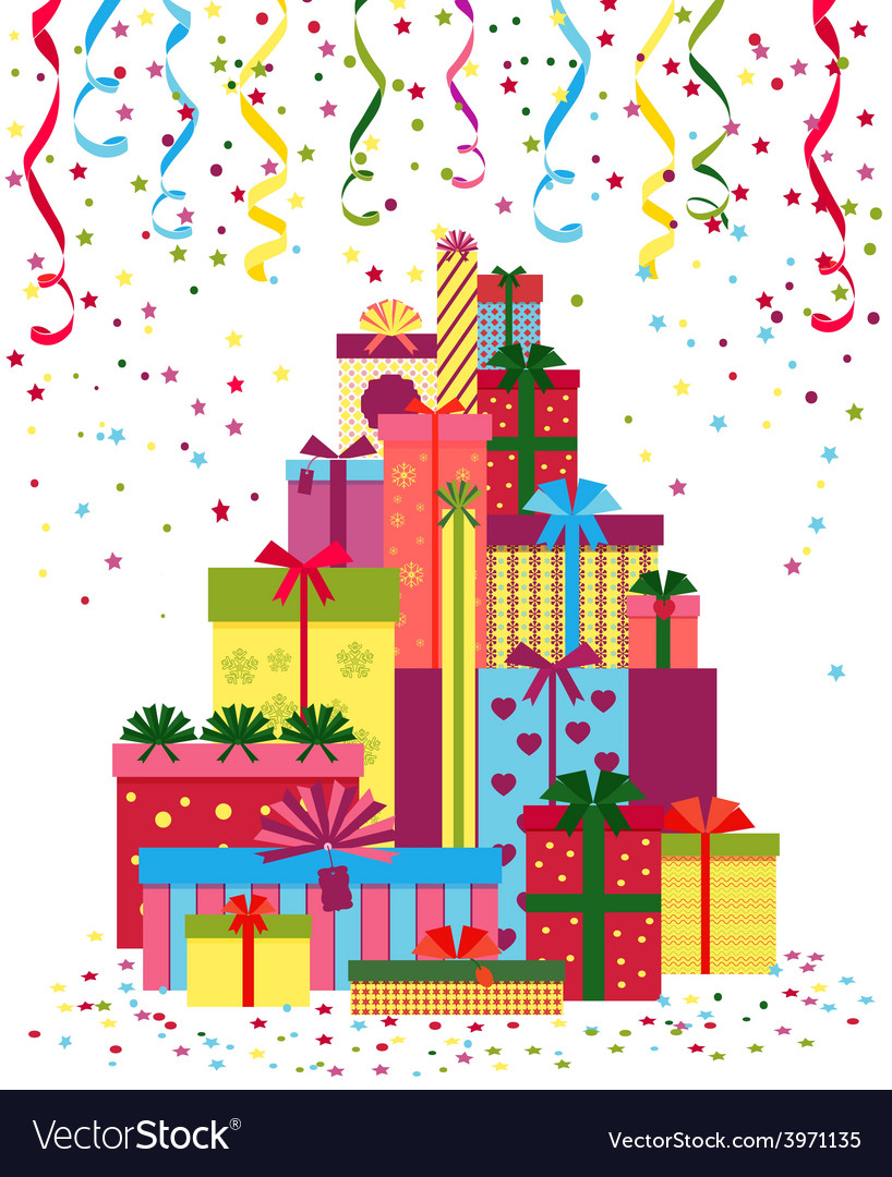 Wrapped presents or gift boxes stack vector | Price: 1 Credit (USD $1)