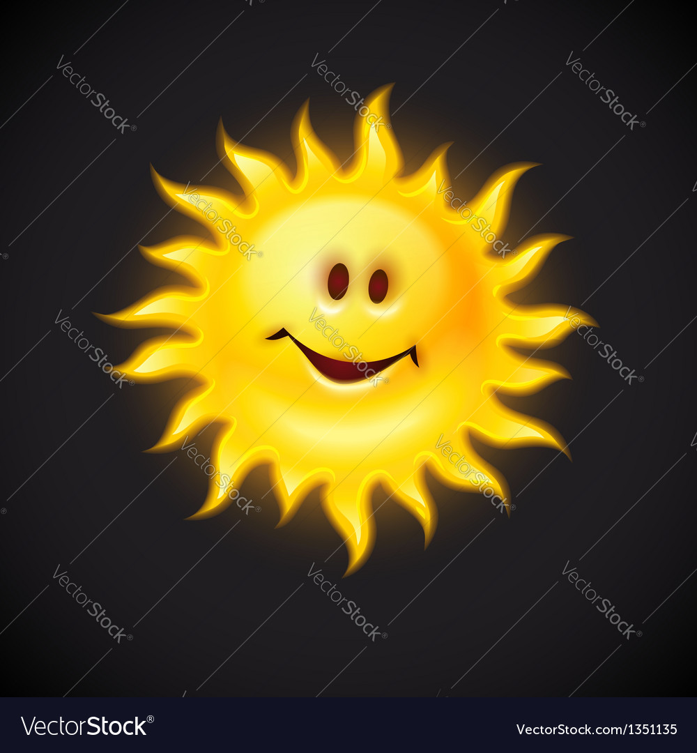 Yellow sun with smiling face vector | Price: 3 Credit (USD $3)