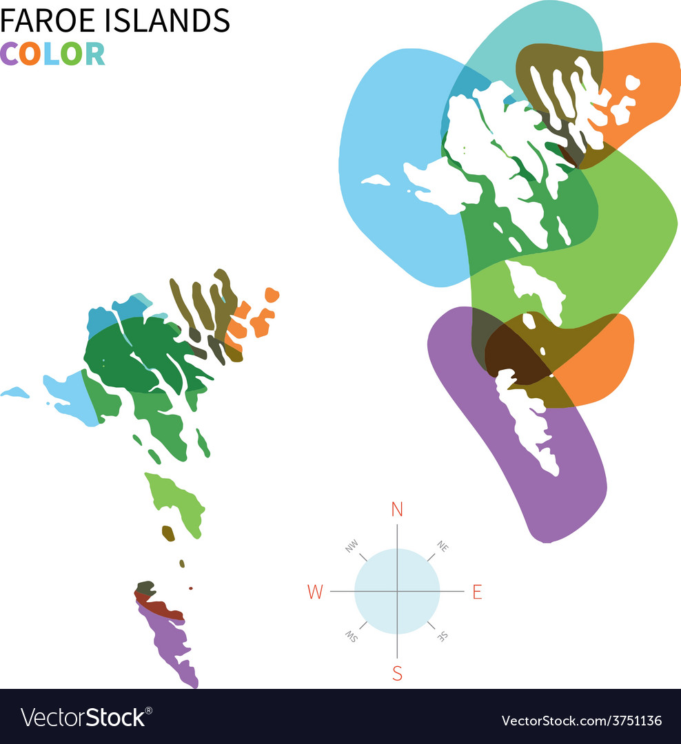 Abstract color map of faroe islands vector | Price: 1 Credit (USD $1)
