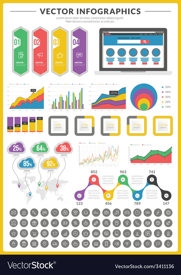 Big pack of data visualization infographics and vector | Price: 1 Credit (USD $1)