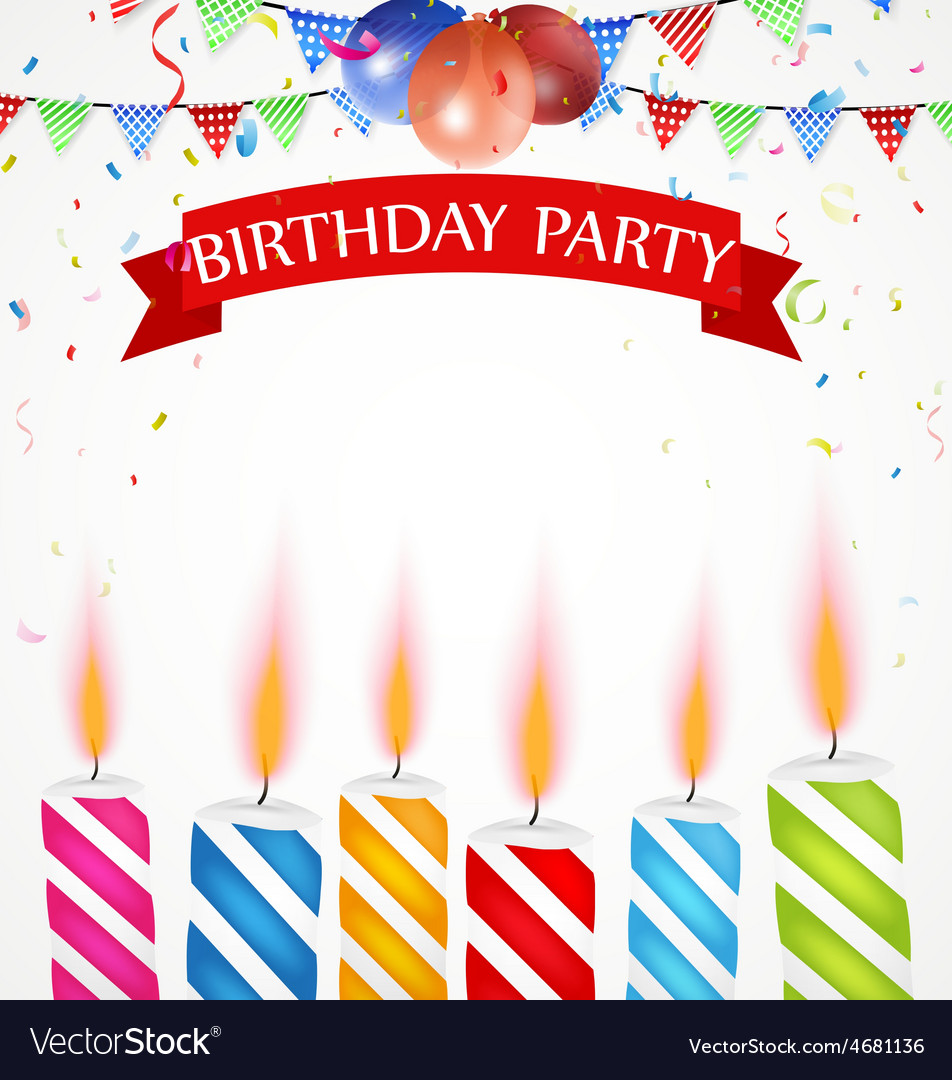 Birthday celebration with balloons and candle vector | Price: 1 Credit (USD $1)