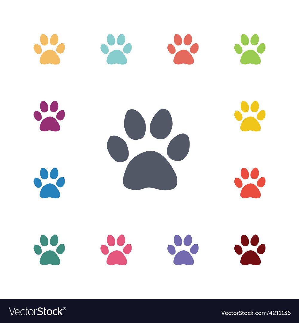 Cat footprint flat icons set vector | Price: 1 Credit (USD $1)