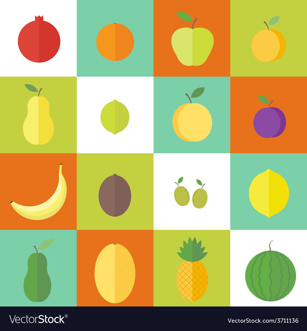 Flat elements for web design fruits and vector | Price: 1 Credit (USD $1)