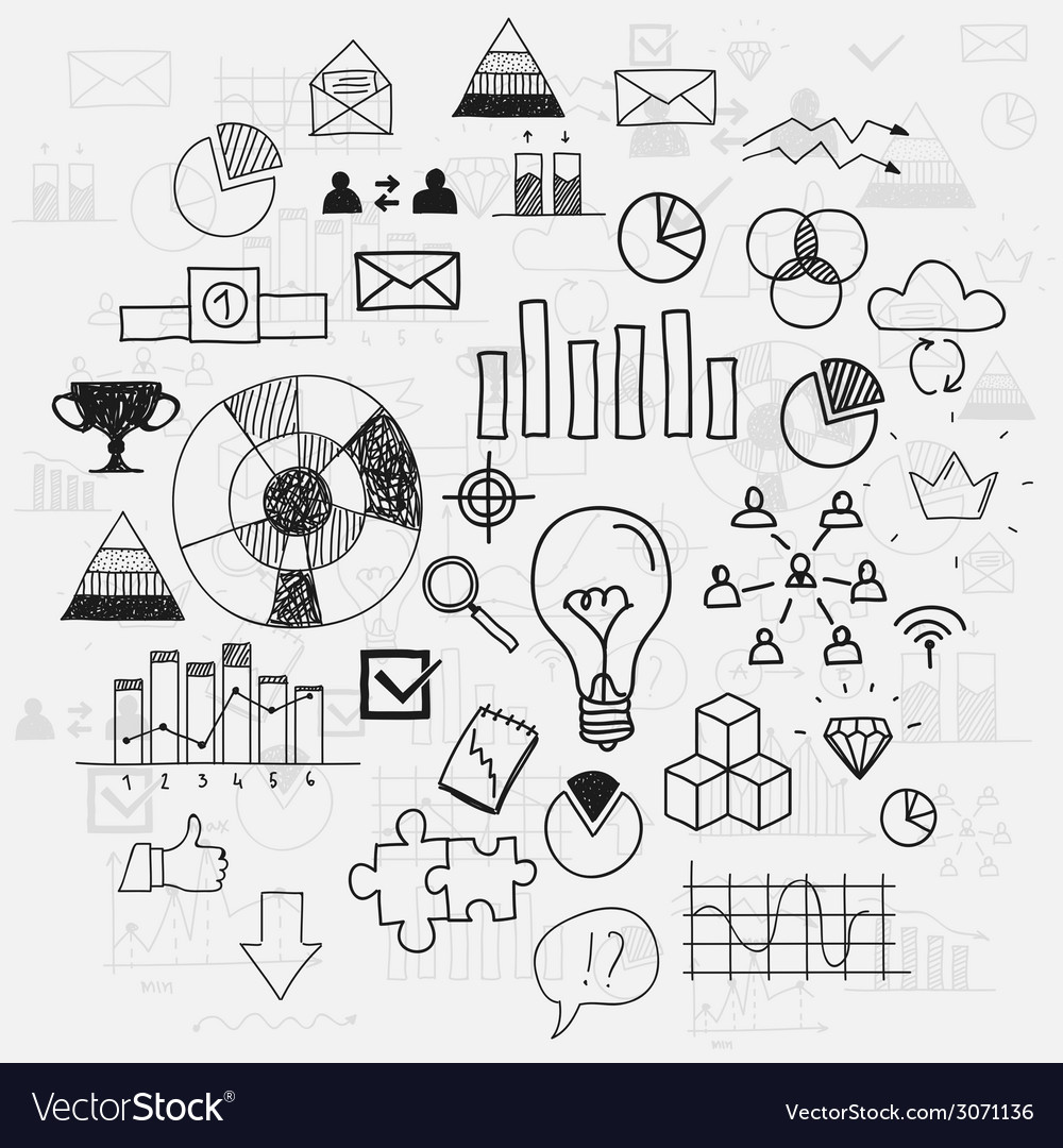 Hand draw doodle elements business scetches vector | Price: 1 Credit (USD $1)