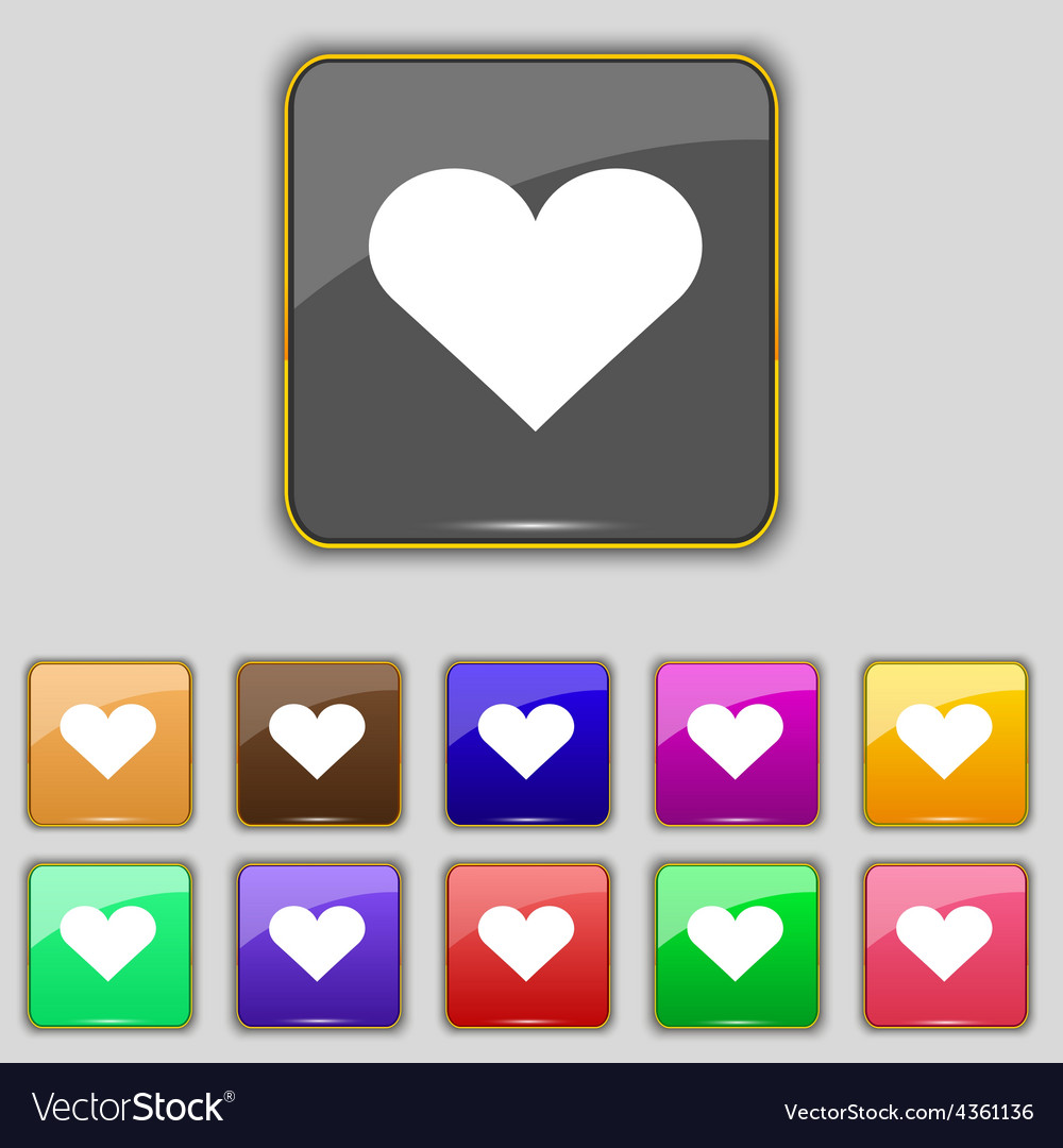 Heart love icon sign set with eleven colored vector | Price: 1 Credit (USD $1)