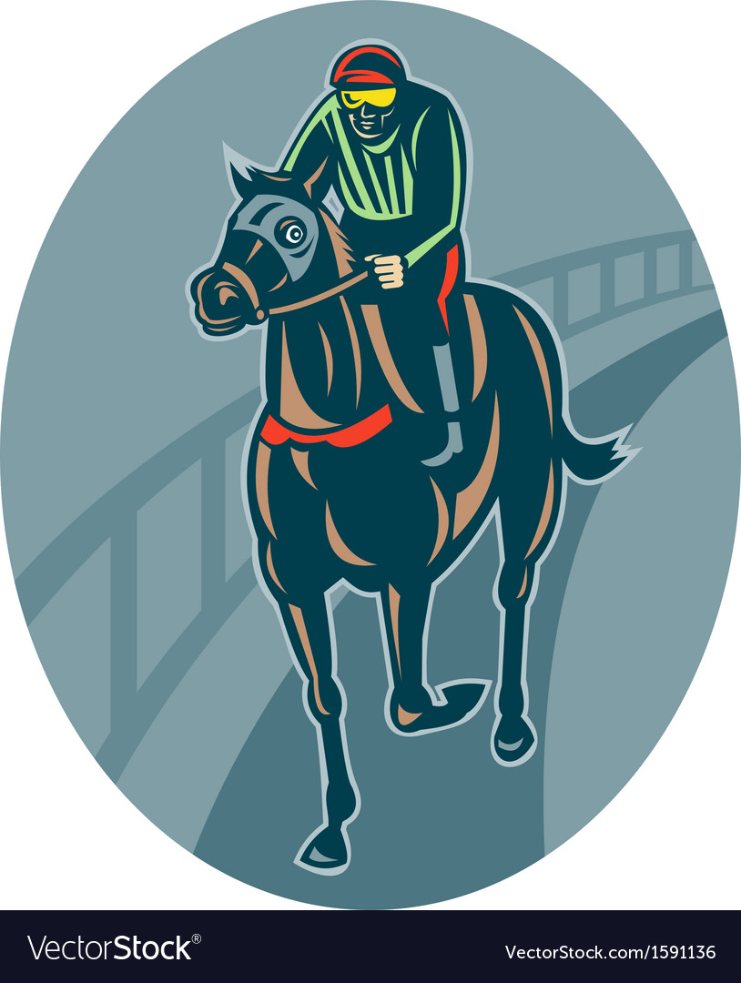 Horse and jockey racing race track vector | Price: 1 Credit (USD $1)