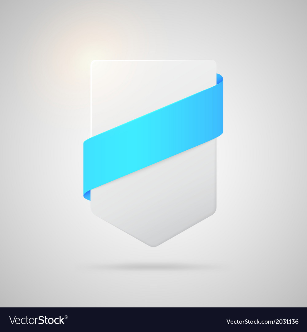 Paper badge with blue silk ribbon vector | Price: 1 Credit (USD $1)