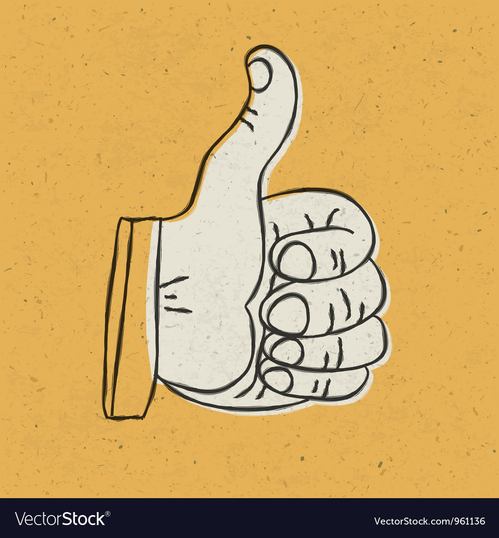 Retro thumbs up vector | Price: 1 Credit (USD $1)