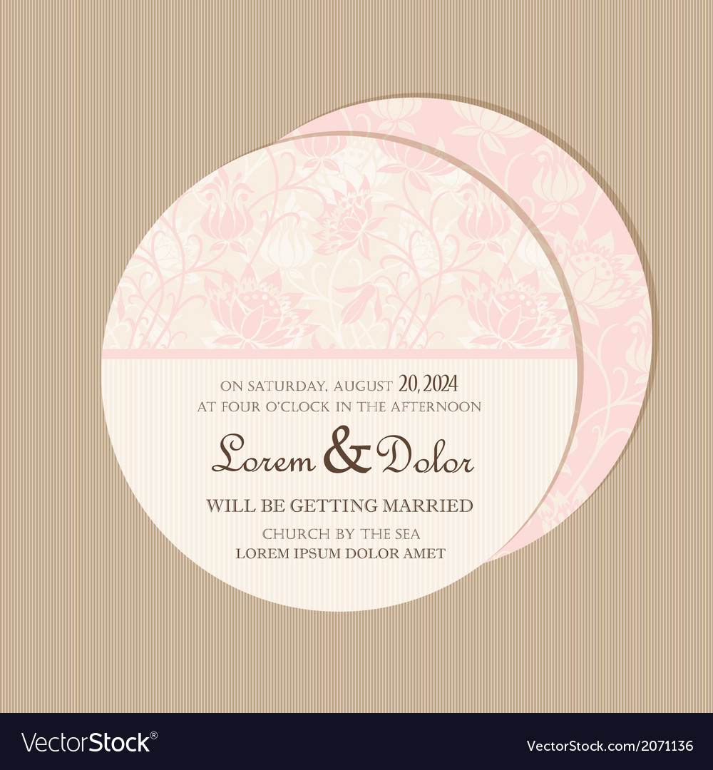 Round floral pink card vector   Price: 1 Credit (USD $1)
