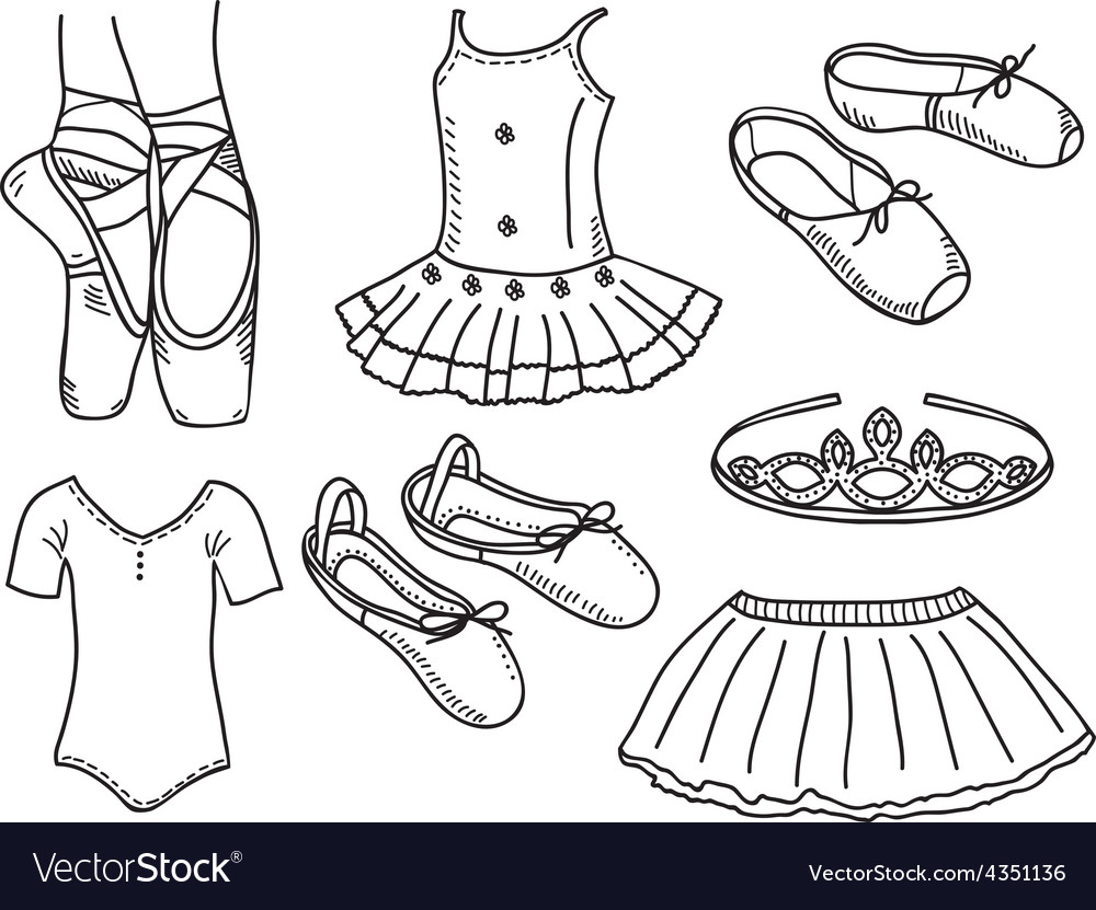 Set of ballerina accessories vector | Price: 1 Credit (USD $1)