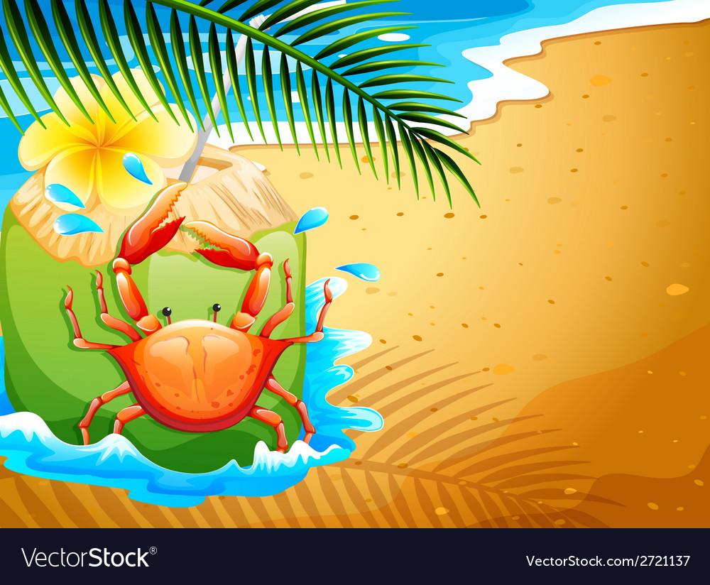 A beach with a refreshing coconut drink and a crab vector | Price: 3 Credit (USD $3)