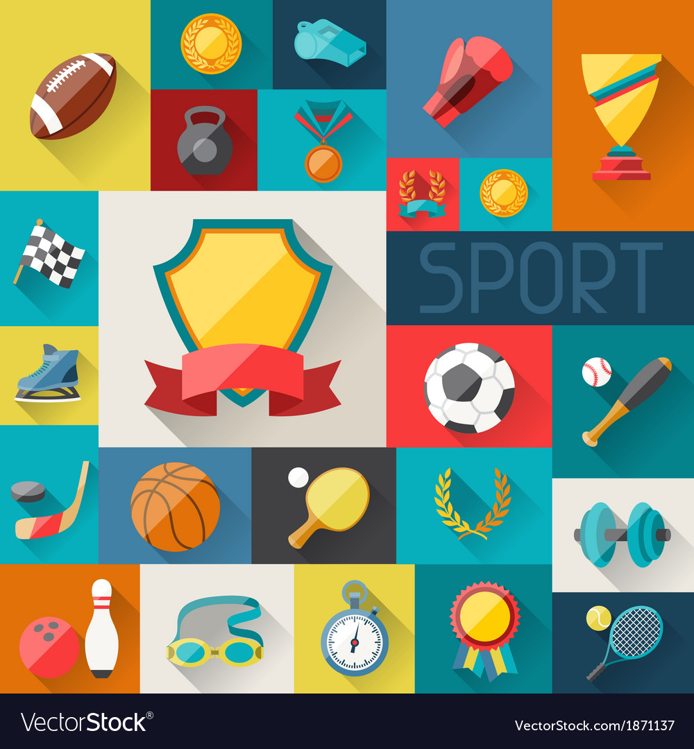 Background with sport icons in flat design style vector | Price: 1 Credit (USD $1)