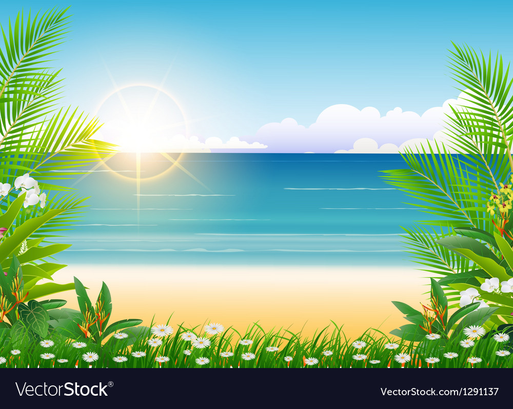 Beauty sunny blue sky and palm tree vector | Price: 1 Credit (USD $1)