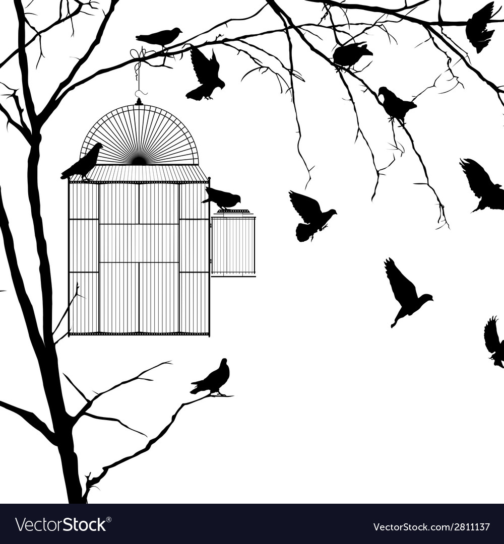 Bird cage silhouettes vector | Price: 1 Credit (USD $1)