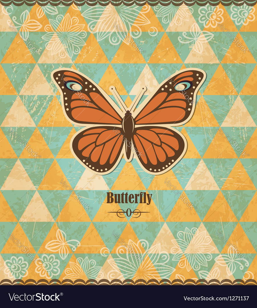 Butterfly vintage mosaic pattern vector | Price:  Credit (USD $)