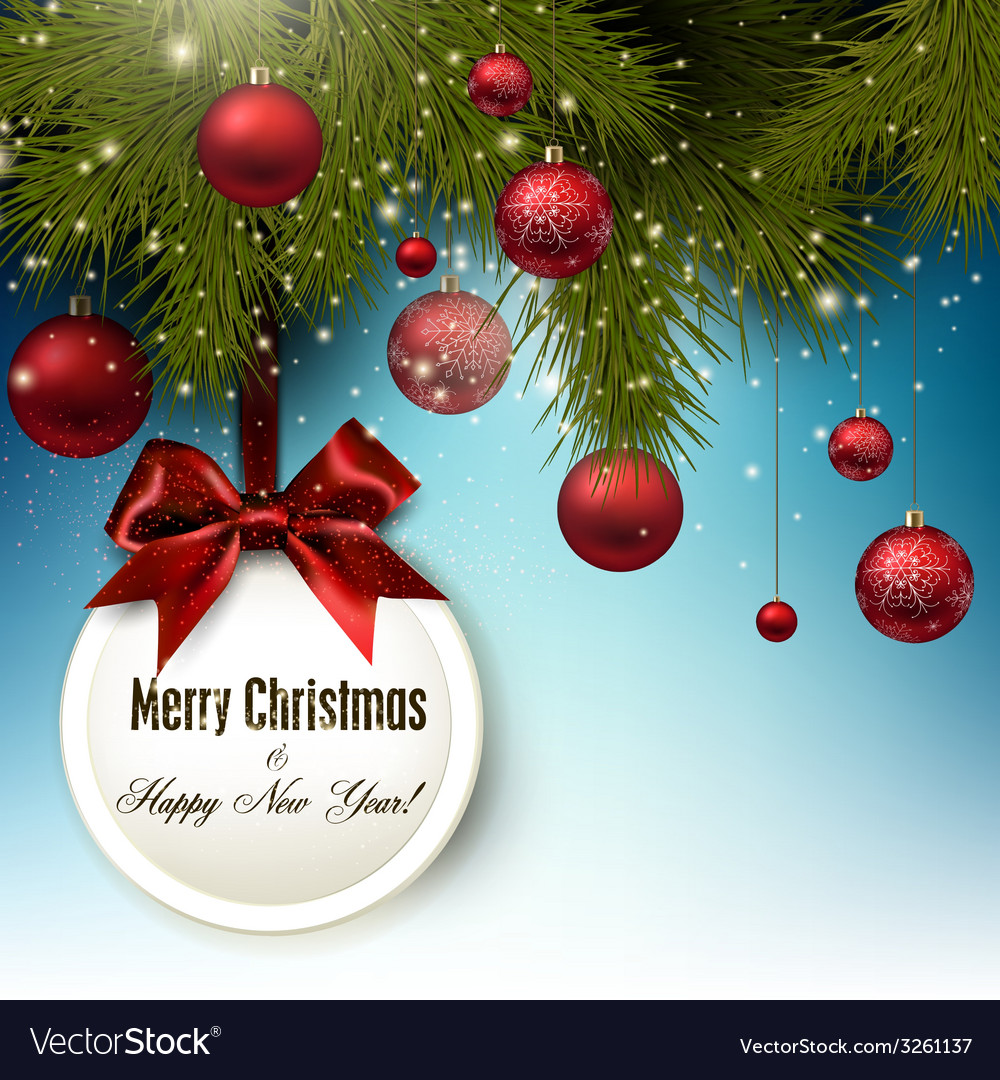 Christmas gift card with red ribbon and red vector | Price: 1 Credit (USD $1)