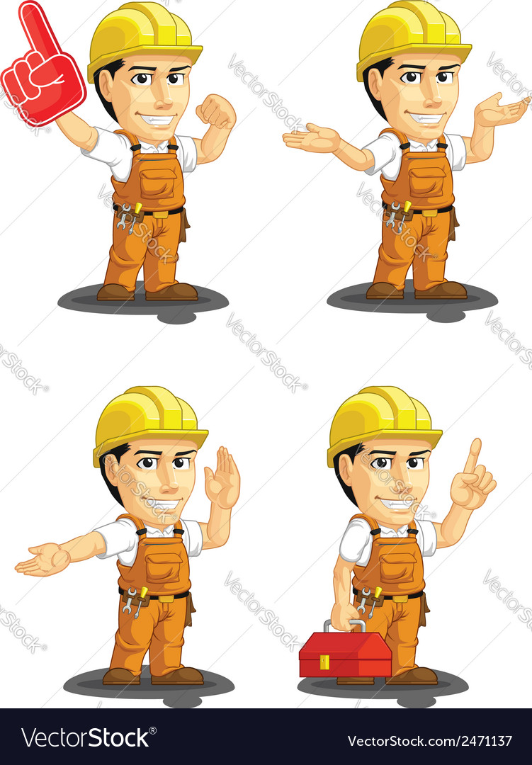 Industrial construction worker mascot 14 vector | Price: 1 Credit (USD $1)