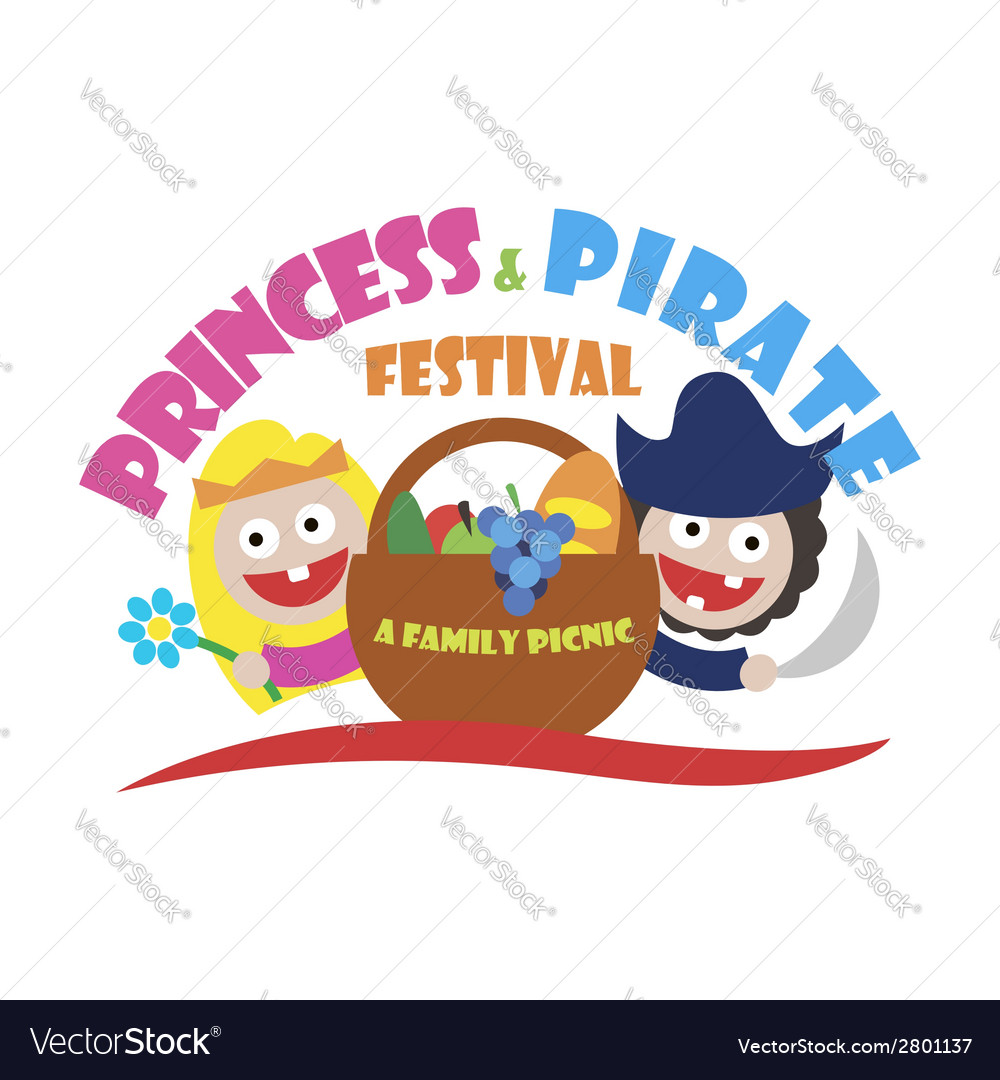 Logo princess and pirate festival a family picnic vector | Price: 1 Credit (USD $1)