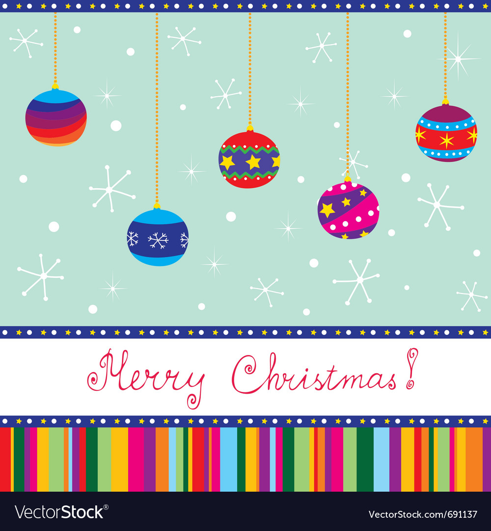 Merry xmas card with baubles hand written text vector | Price: 1 Credit (USD $1)