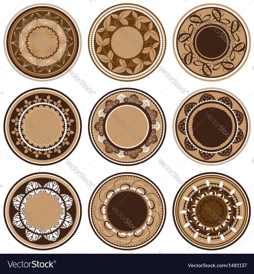 Plates with different vegetation patterns vector | Price: 1 Credit (USD $1)