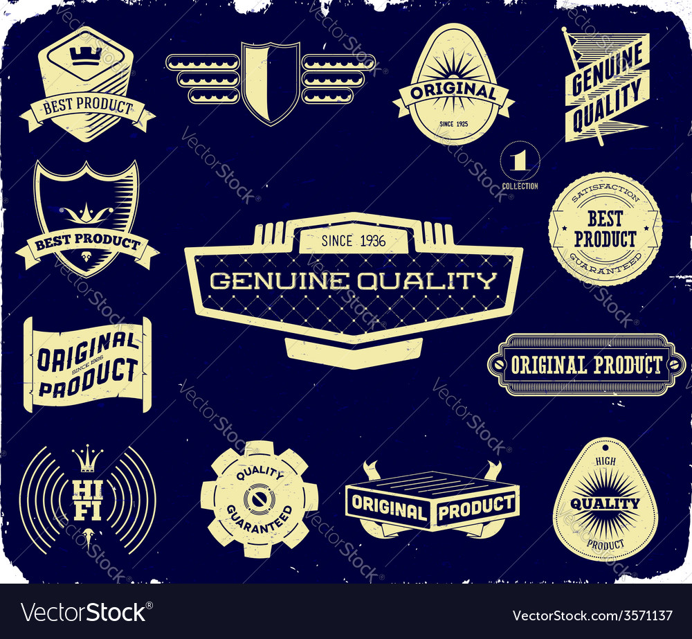 Set of vintage labels on the black collection 1 vector | Price: 1 Credit (USD $1)