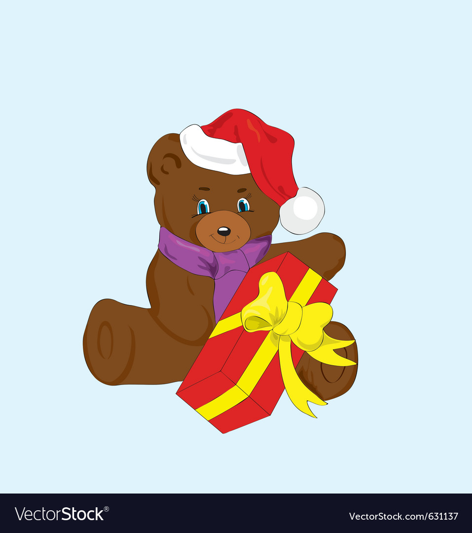 Toy bear with a gift for new year vector | Price: 1 Credit (USD $1)