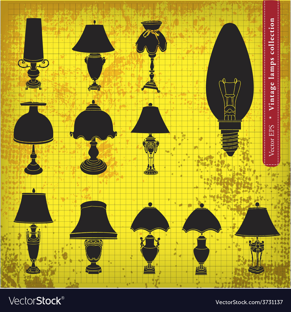 Vintage table lamp silhouette vector | Price: 1 Credit (USD $1)