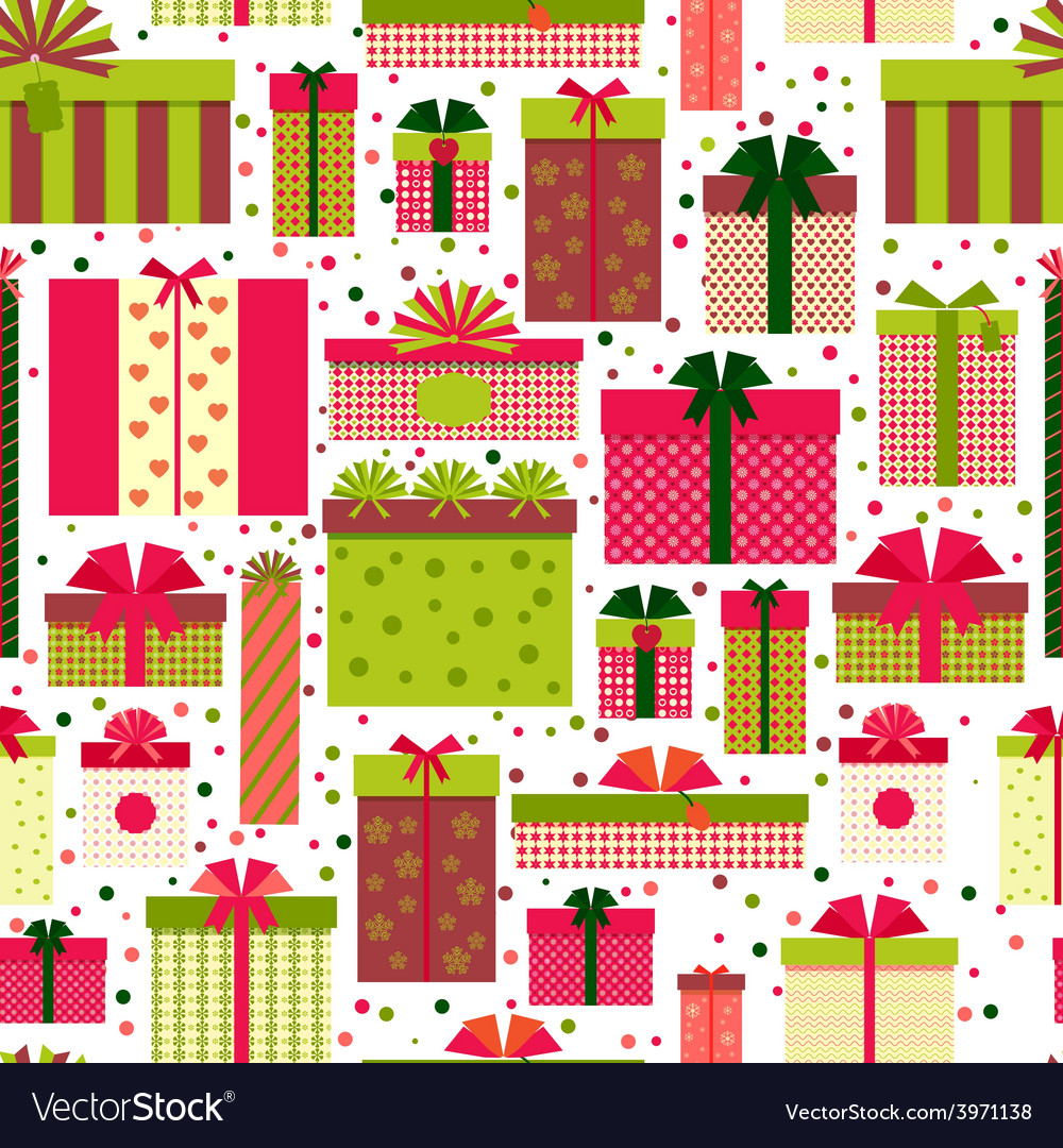 Attractive gift boxes pattern on white background vector | Price: 1 Credit (USD $1)