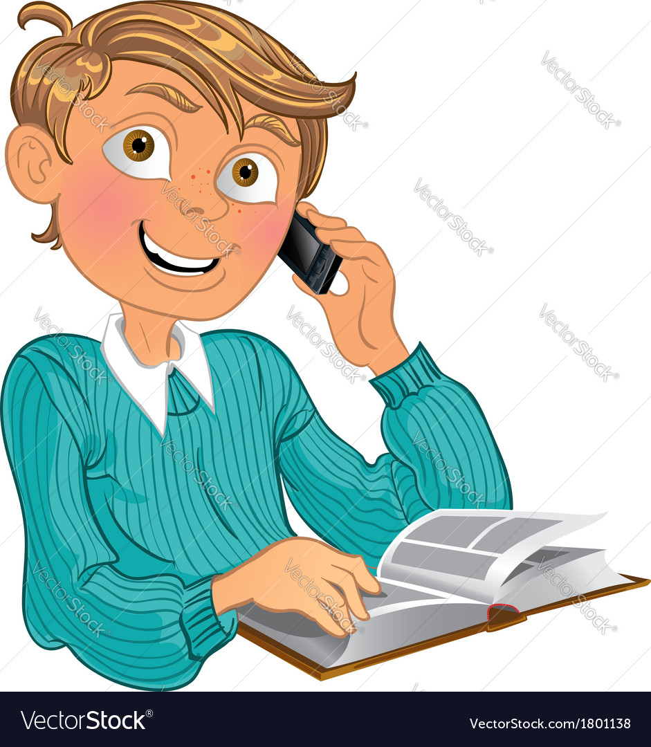Blond boy in blue sweater and phone and book vector | Price: 3 Credit (USD $3)