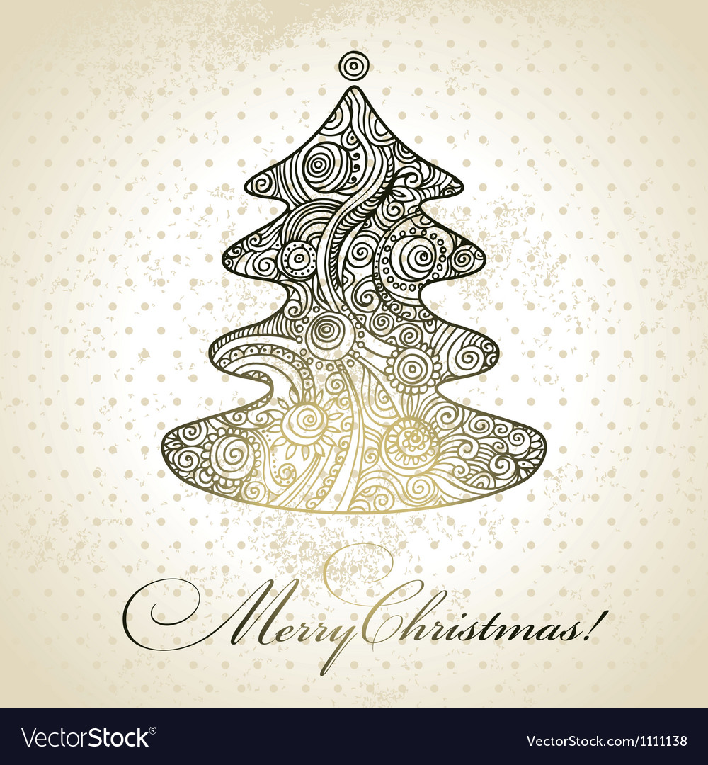 Christmas tree hand drawn design vector | Price: 1 Credit (USD $1)