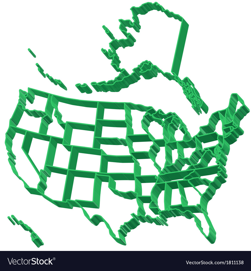 Extruded map of usa vector | Price: 1 Credit (USD $1)