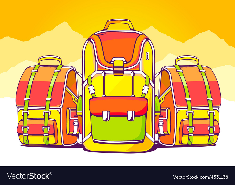 Fashion backpacks on yellow summer backgr vector | Price: 1 Credit (USD $1)