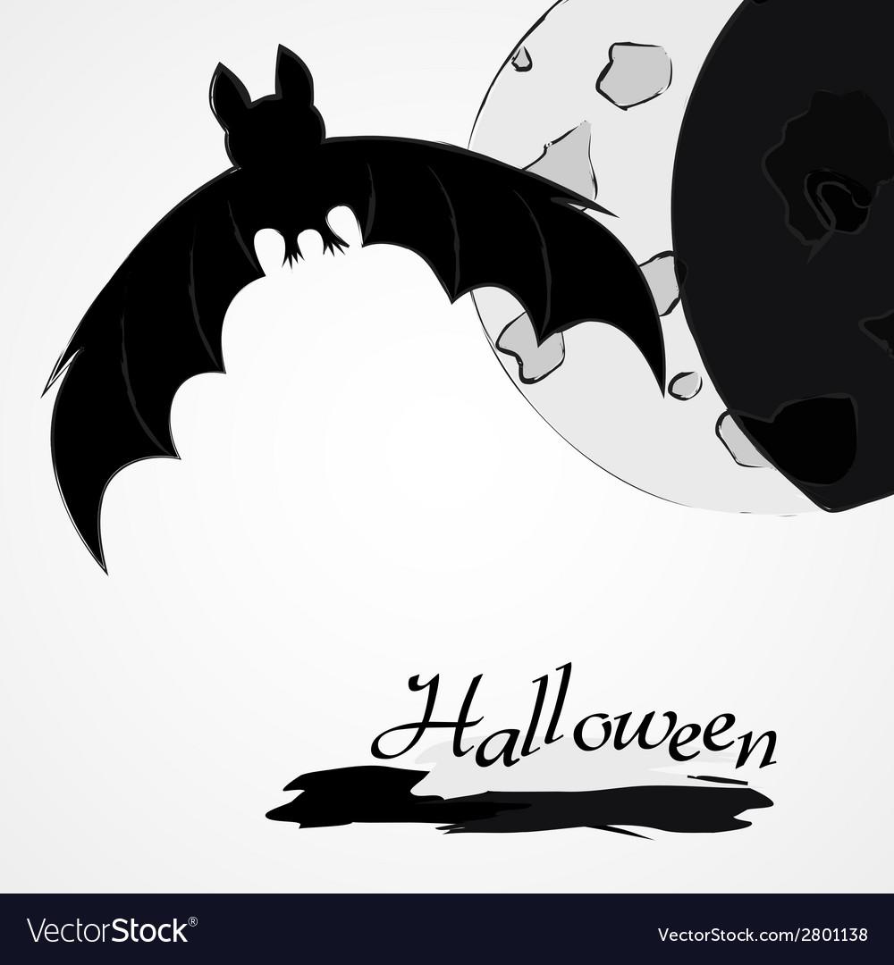 Halloween bat and moon vector | Price: 1 Credit (USD $1)