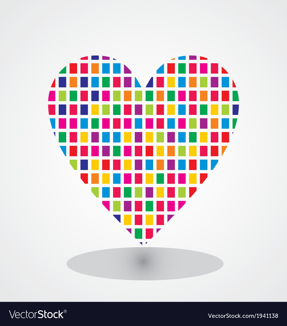 Heart with colorfull brick texture vector | Price: 1 Credit (USD $1)
