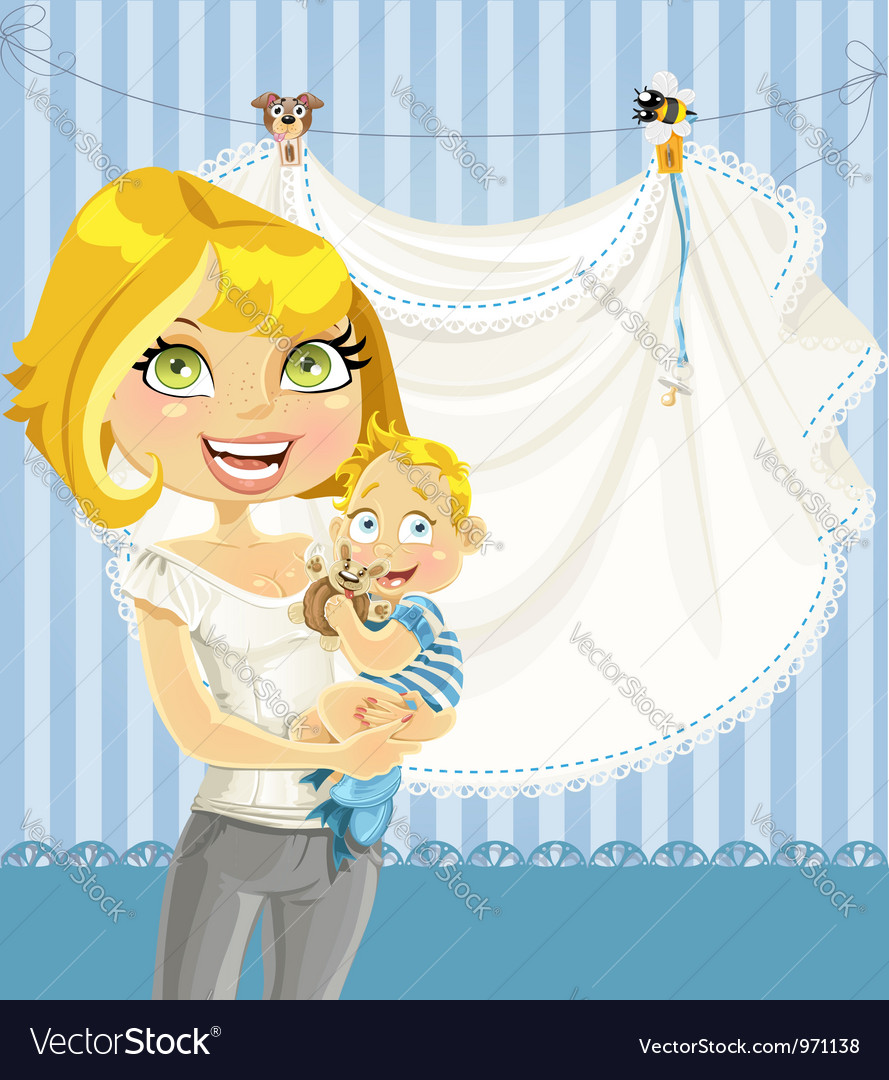 Mom with baby boy blue openwork announcement card vector | Price: 5 Credit (USD $5)
