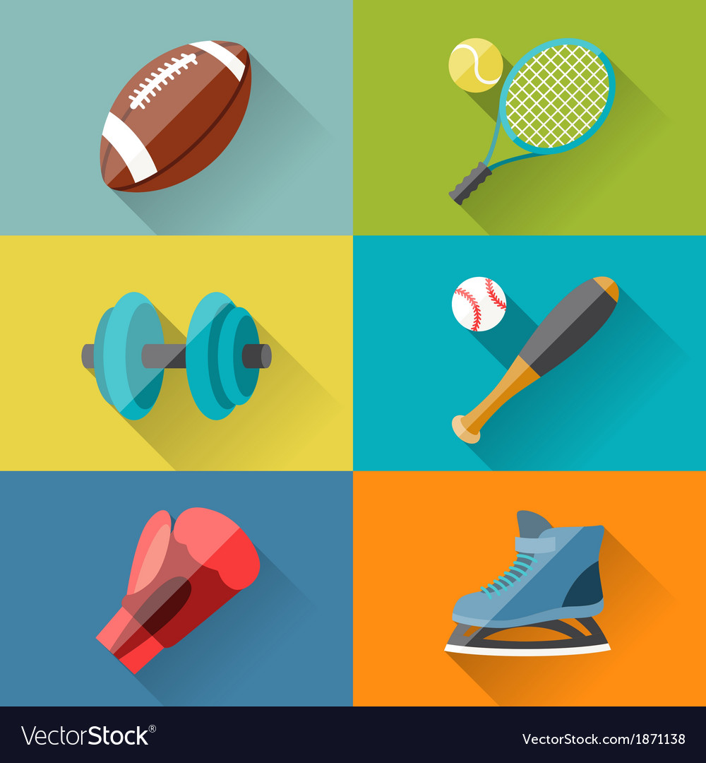 Sport icons in flat design style vector | Price: 1 Credit (USD $1)