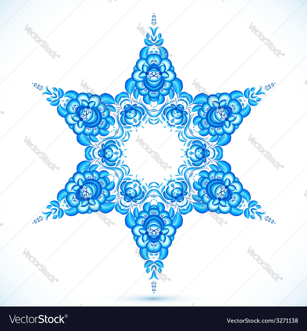 Star snowflake in gzhel style vector | Price: 1 Credit (USD $1)