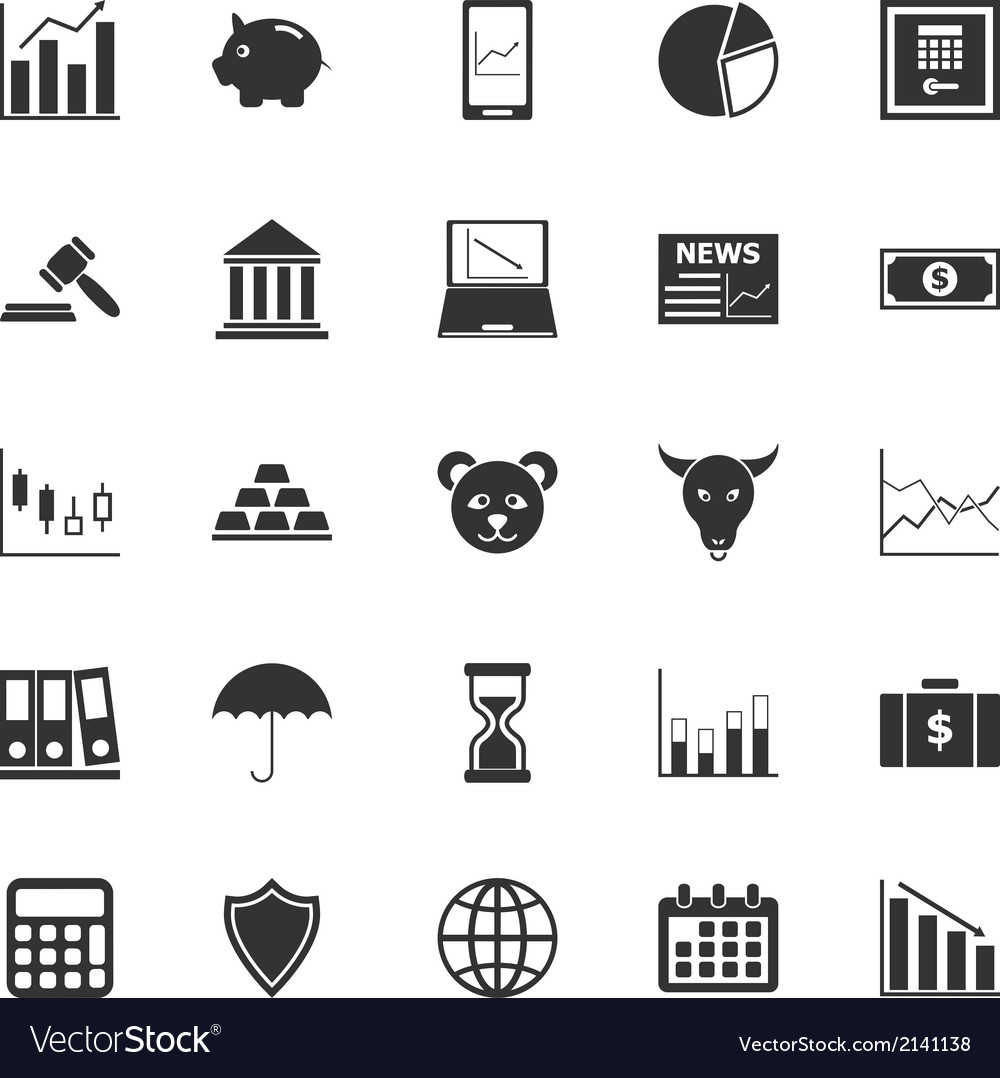 Stock market icons on white background vector | Price: 1 Credit (USD $1)