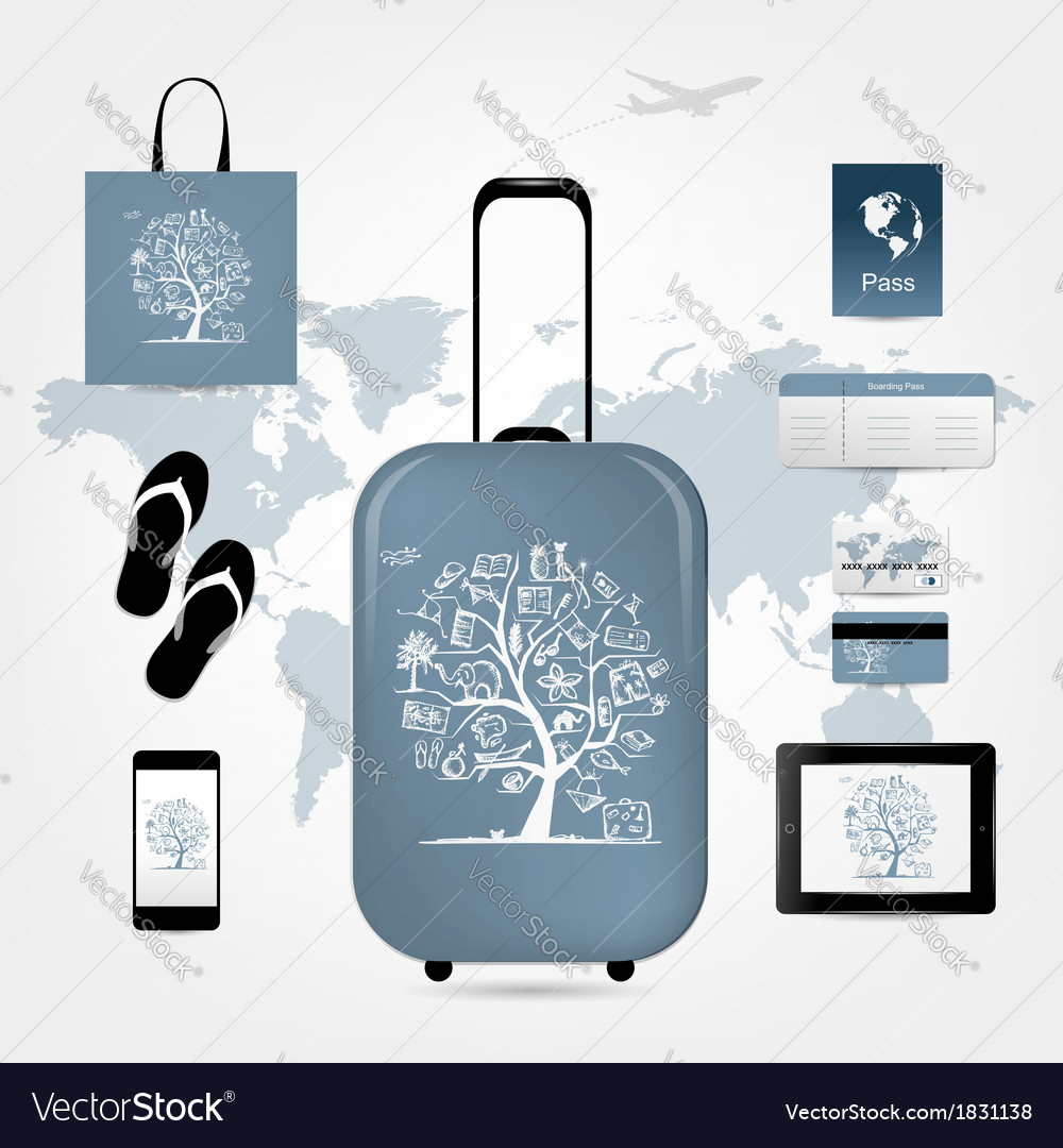 Travel suitcase with set of icons for your design vector | Price: 1 Credit (USD $1)