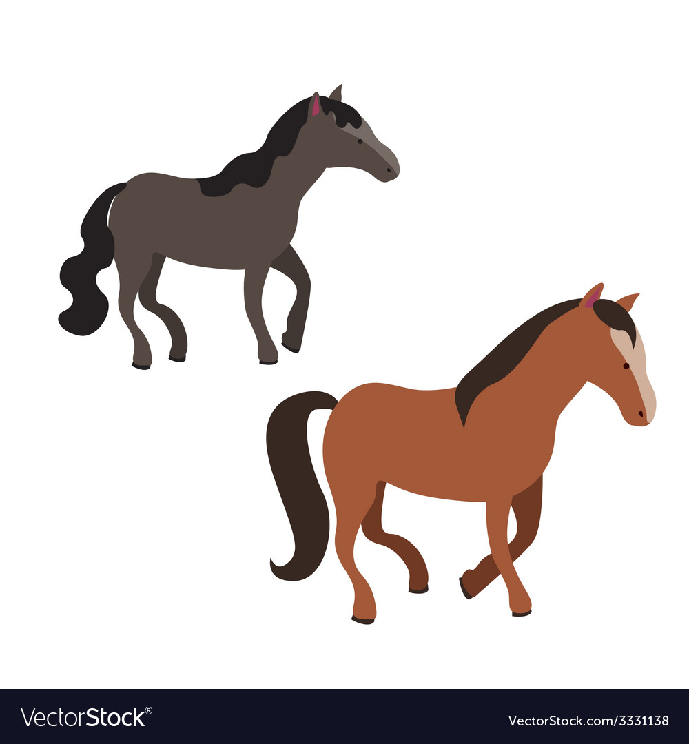 Two horses vector | Price: 1 Credit (USD $1)