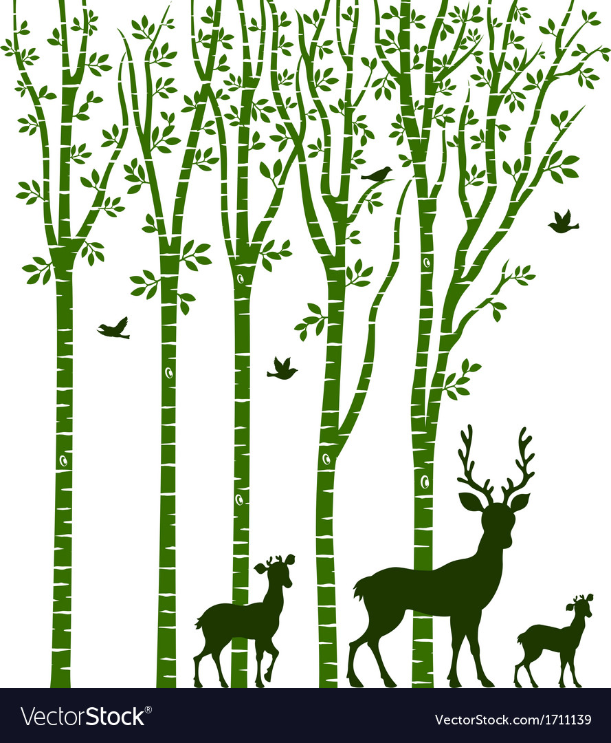 Birch tree with deer vector | Price: 1 Credit (USD $1)
