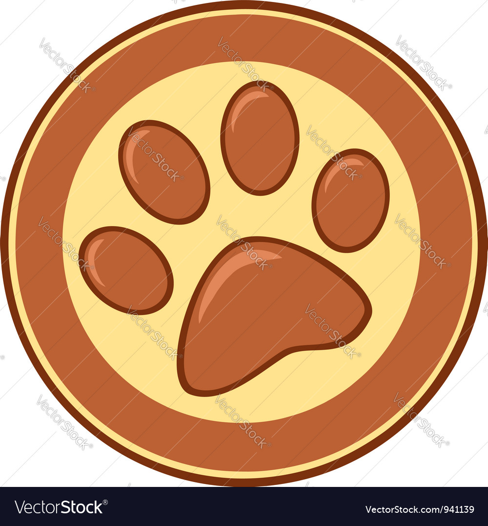 Brown paw print banner vector | Price: 1 Credit (USD $1)