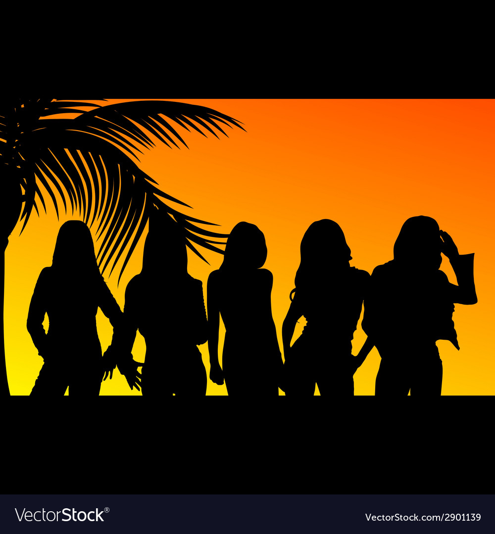 Five girls silhouette vector | Price: 1 Credit (USD $1)