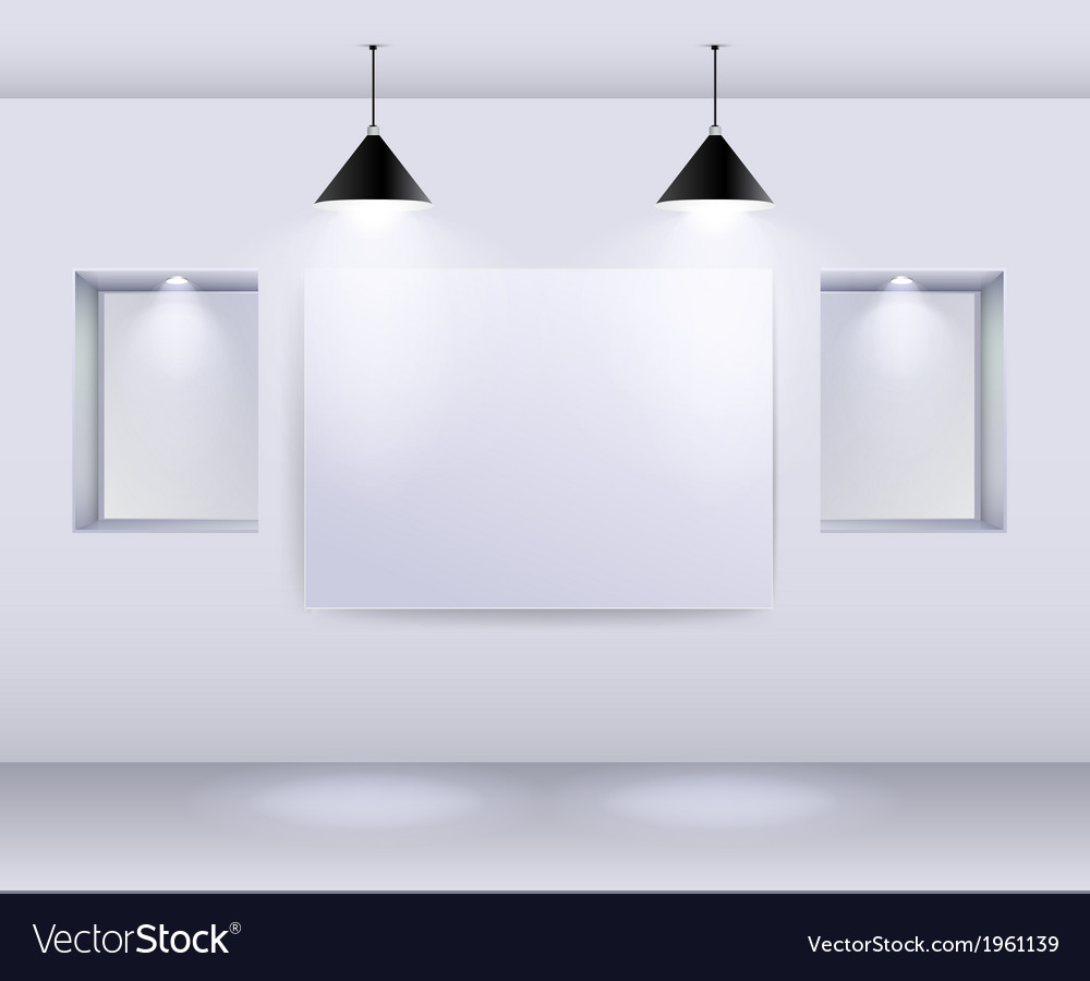Gallery interior with empty frame on wall and spot vector | Price: 1 Credit (USD $1)