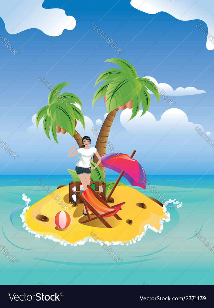 Girl on tropical island2 vector | Price: 1 Credit (USD $1)