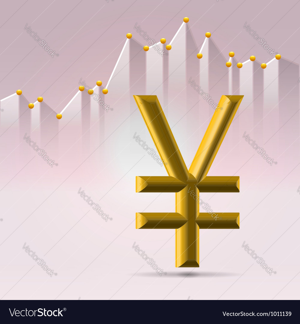 Golden yena sign over chart vector | Price:  Credit (USD $)
