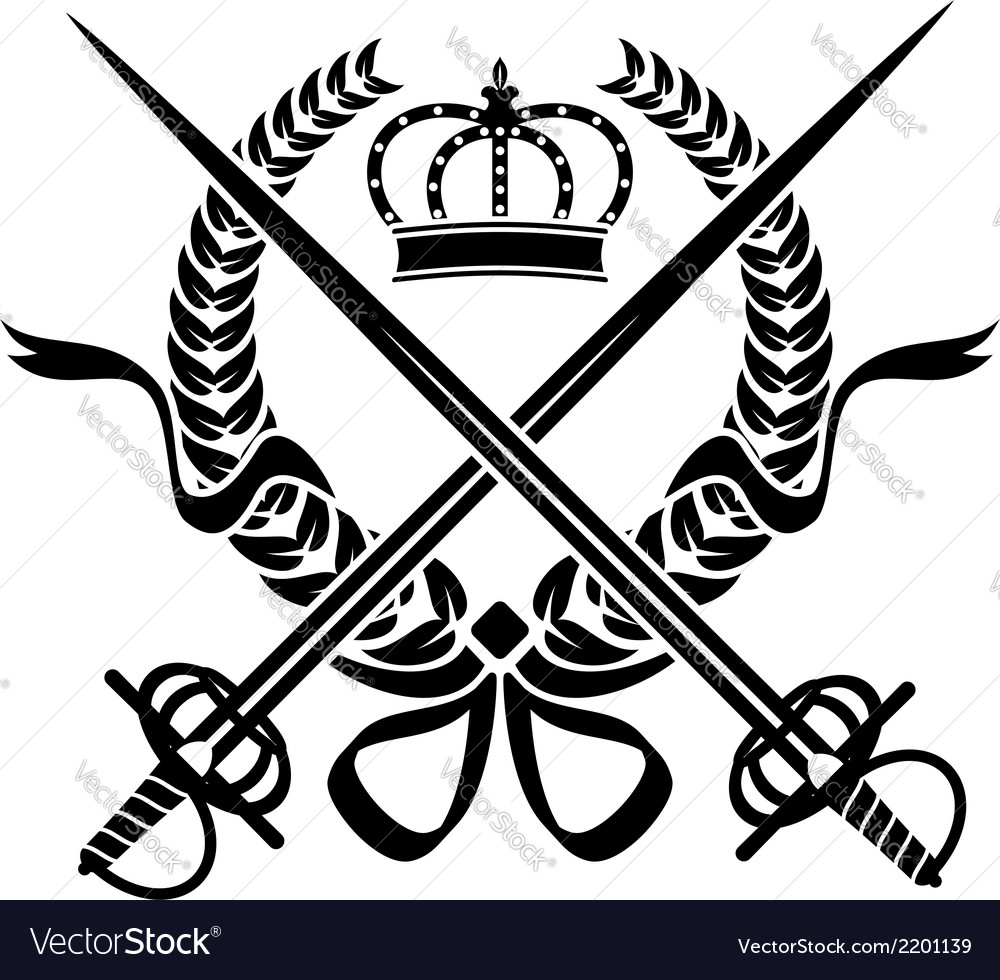 Heraldic design with a wreath swords and crown vector | Price: 1 Credit (USD $1)