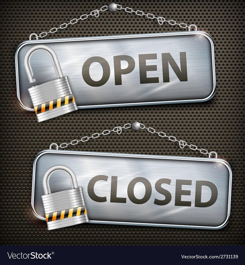 Iron sign hanging open closed vector | Price: 1 Credit (USD $1)