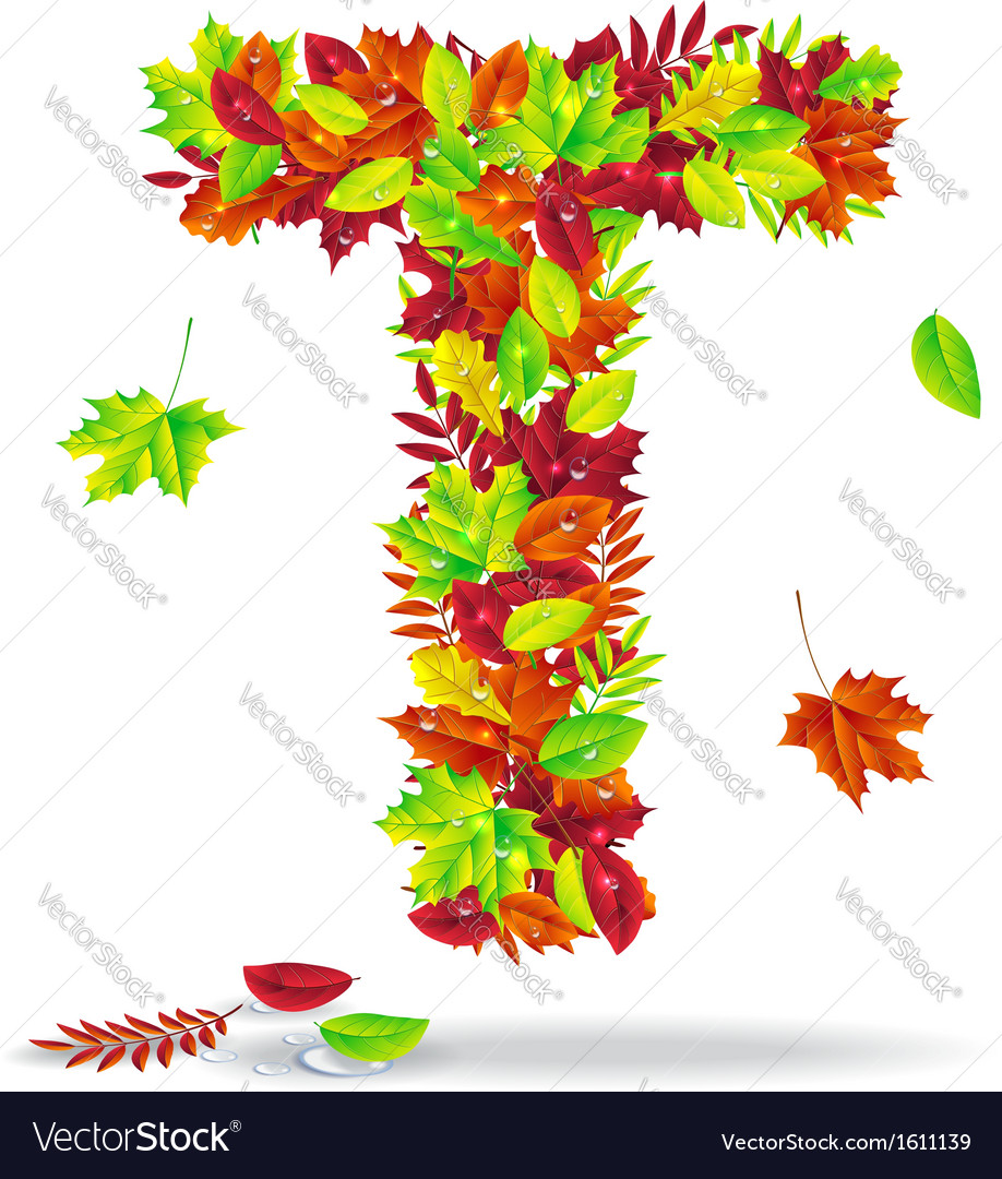 The letters of autumn leaves with drops of water vector | Price: 1 Credit (USD $1)